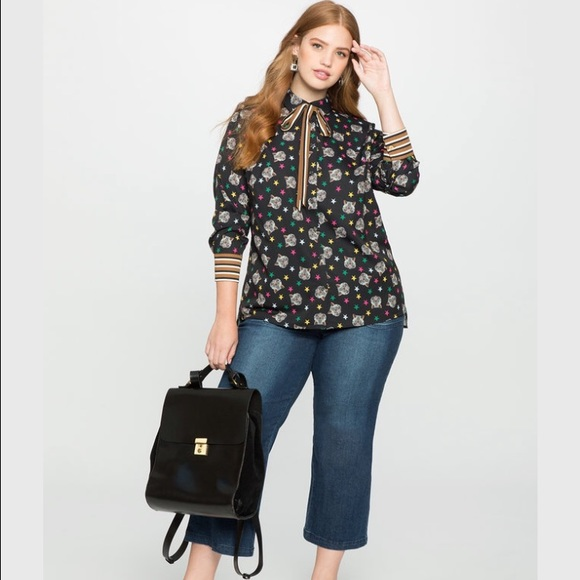a08371595a6 Eloquii Conversation Blouse in Cat Print