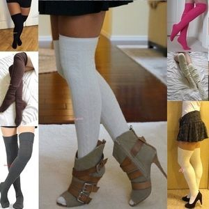HUE Accessories - Cable Knit Over The Knee Socks Thigh High 2 Pairs