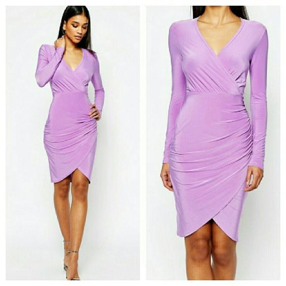 45b529d41e Asos Light Purple Wrap Style Tulip Hem Bodycon