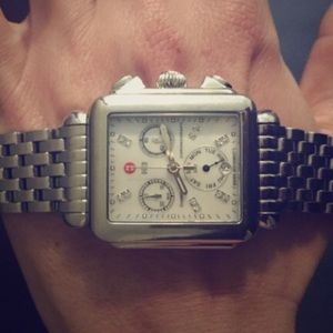 Michele Accessories - Michele XL Deco Diamond Dial Watch