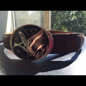Vintage leather belt and belt buckle!