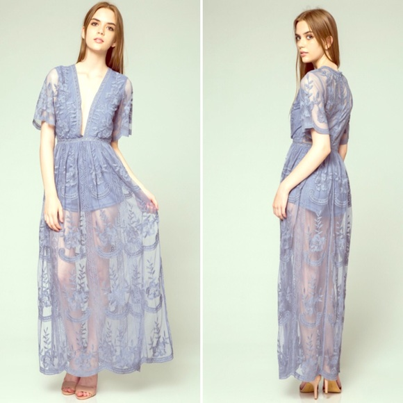 ed0be19d46f4 Dusty Blue Lace Maxi Romper