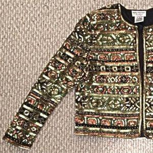 Vintage Beaded Silk Jacket Sequin Formal