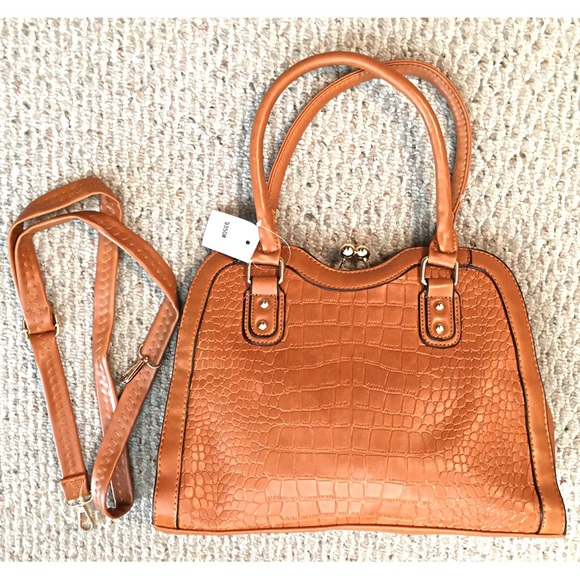 Boutique Handbags - Beautiful Vegan Leather Croc look Handbag BROWN