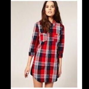 NEW ASOS VERO MODA RED PLAID BUTTON SHIRT DRESS S