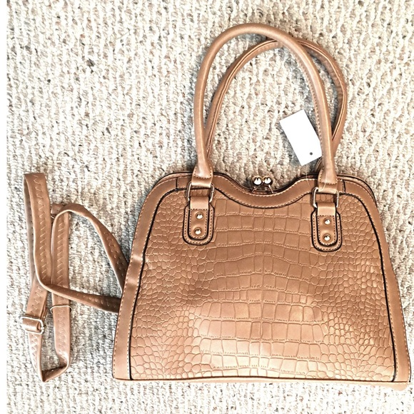 Boutique Handbags - Amazing Vegan Leather Satchel Croc Look Taupe