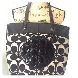 Coach Canvas logo tote with Patent leather.
