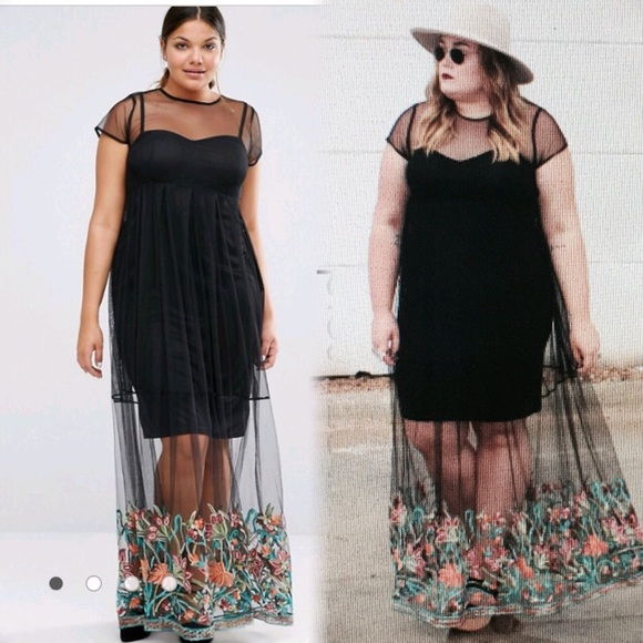 ASOS Curve - Boohoo plus size embroidered hem mesh maxi dress from ...