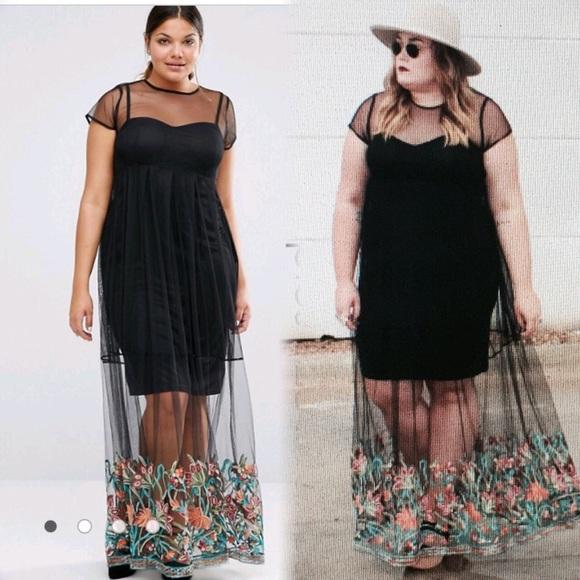 8745f2d02ecb ASOS Curve Dresses & Skirts - Boohoo plus size embroidered hem mesh maxi  dress