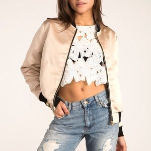 Satin Black Trim Bomber Jacket