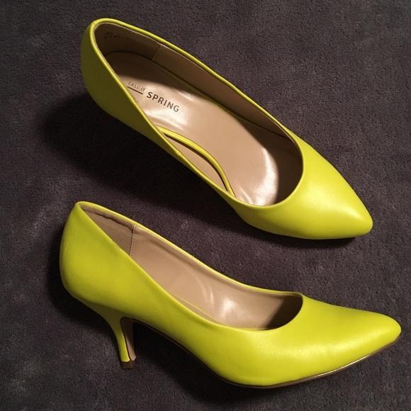 Neon Yellow Kitten Heel Pumps