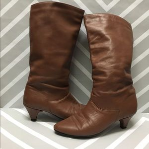 Shoes - Vintage Brown Faux Leather Pull Up Heel Boots