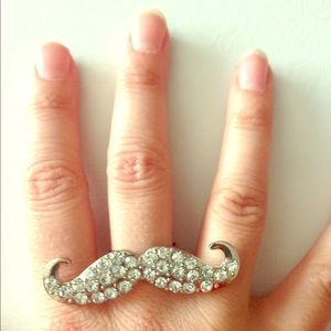 Gold or silver tone rhinestone bling mustache ring
