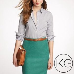 J. Crew The Pencil Skirt in Nautical Green Wool
