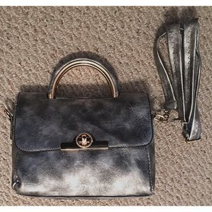 Stormy Silver Black Vegan Leather Purse Handbag