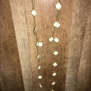 gold & white chain wrap necklace