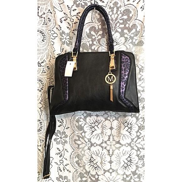 Boutique Bags - Cheetah Purple Black Vegan Leather Satchel Tote