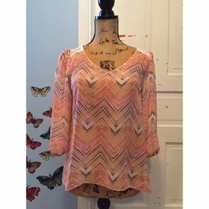 A. Byer  Tops - A. Byer Chiffon Style Keyhole High Low Blouse