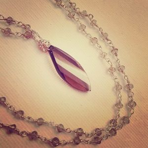 Twist Faceted Smokey Quartz Marquise Necklace