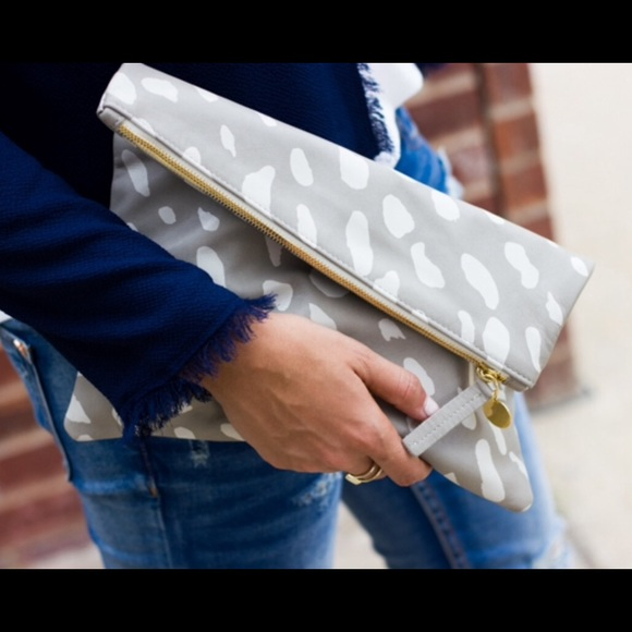 Clare Vivier Handbags - Clare V Supreme Foldover Clutch in Jaguar Print