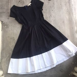 Shabby Apple Dresses - Shabby Apple Saylor Navy Fit and Flare Dress