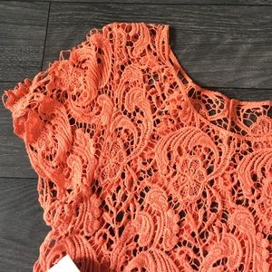 Sabo Skirt Tops - Gorgeous Coral Lace Detail Overlay Top