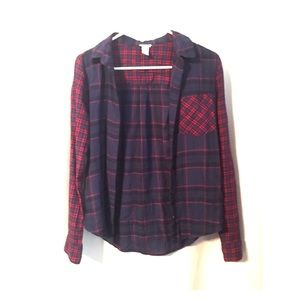 Blue and Red Plaid Button Down Flannel Long Sleeve
