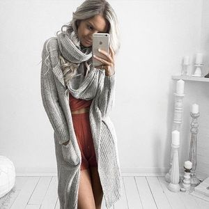 Bare Anthology Sweaters - NBF ❤️ Infinity Scarf Grey Sweater Cardigan