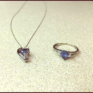 10 karat white gold necklace/ring set