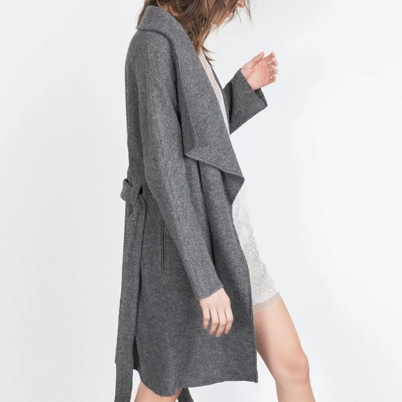 72e25f92 Zara Jackets & Coats | Gray Waterfall Wool Midi Coat With Tie | Poshmark