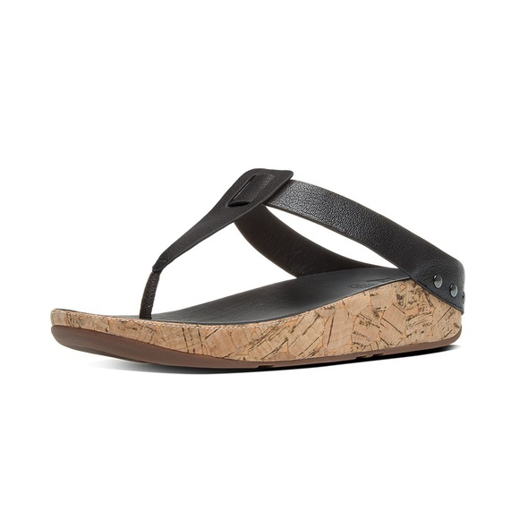 95049f2a2d35d0 Fitflop Ibiza Cork Black Leather Thong Sandals