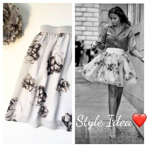 Frenchi Sheer Short Skirt, Soft Rose Floral Print