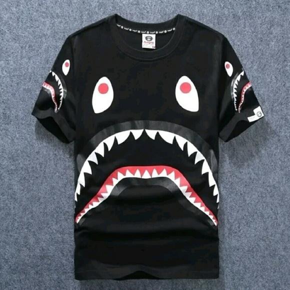 e8bd1003 Bape Shirts | Aape A Bathing Ape Black Shark Tee Shirt | Poshmark