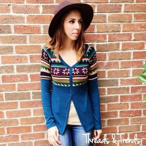Threads & Trends Sweaters - Teal Aztec Print Sweater