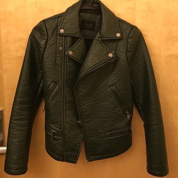 785ab270f Zara Dark Green leather jacket