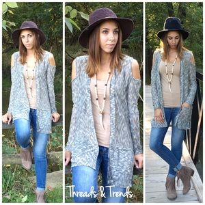 Threads & Trends Sweaters - Cold Shoulder Marled Cardigan