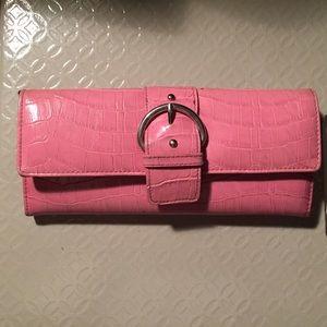 Pink faux croc wallet