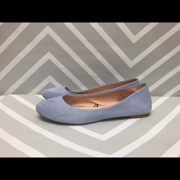 8bc3f72b7b04 H M Shoes - Light Blue Faux Suede Ballerina Flats