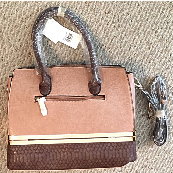 Boutique Bags - Storage Compartment Vegan Leather Two Tone Tote