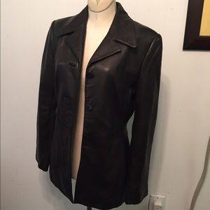 Frenchi Women,s Lamb Skin Black Lined Coat