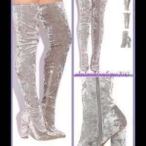 Silver velvet thigh high boots
