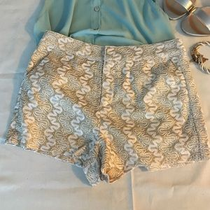 Forever 21 Gold Glitter Lace Shorts NWOT