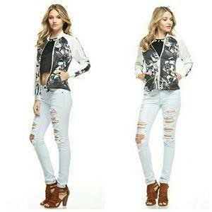 Floral Print Bomber Style Jacket