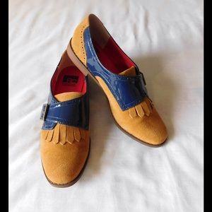 BC Footwear Shoes - Suede! Divine Tan/Blue Oxfords W/Fringe Details