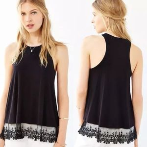 NWT Small Urban Outfitters Black Lace Trim Tank