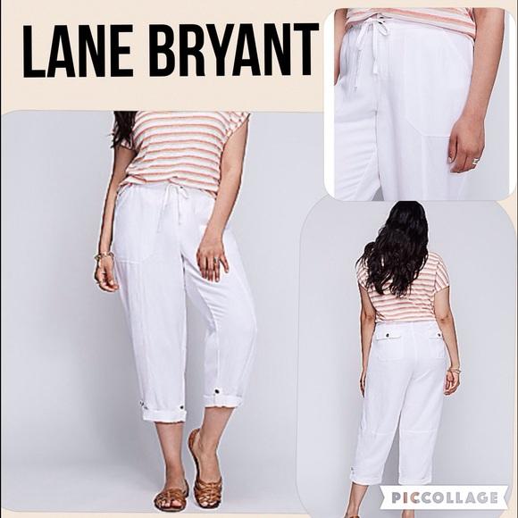 White Cargo Style Pants Lane Bryant Casual Capri Drawstring Cropped Woman sz 26