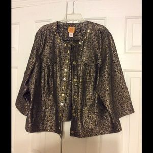 Ruby Rd. Woman Jackets & Blazers - Gold and Black Metallic Jacket