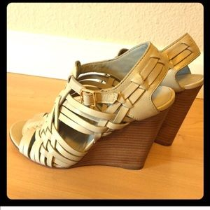 Tory Burch grey wedge sandals size 5.5