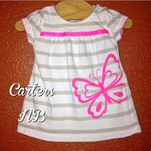 Carter's Other - Carter's White Striped Neon Butterfly Dress NB