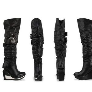 JEFFREY CAMPBELL Leather Mirror Knee Boots